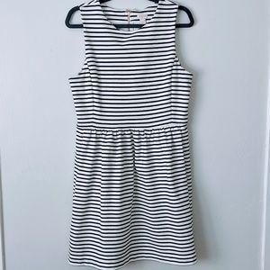J Crew Black & White Striped Dress with Pockets